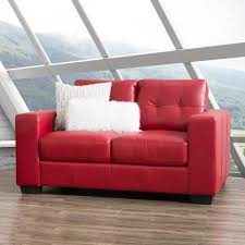 club tufted red bonded leather loveseat