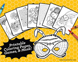 My point that first and foremost, coloring in is a fun. Printable Honey Bee Coloring Pages Games Wearable Honey Bee Mask Canningcrafts