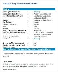 Ideas Of Resume Templates Teachers Fresher Primary Teacher Resume