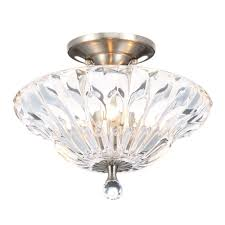 dale tiffany meridith 3 light polished chrome crystal semi flush mount light