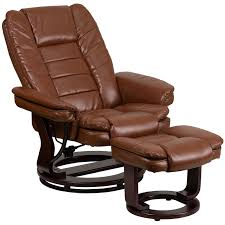 contemporary brown vintage leather recliner and ottoman with swiveling mahogany wood base bt 7818 vin gg 12 jpg