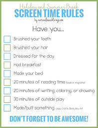 holiday and summer break screen time rules for kids fun holiday and summer break screen time rules for kids fun activities printable and activities
