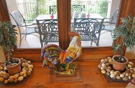 colorful rooster kitchen decor near window