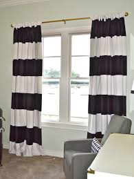 ... And Black And White Stripped Curtain And Cozy Grey Single Sofa Idea  Make Your Rooms Great with Horizontal or Vertical Black and White Striped  Curtains ...