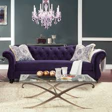 Purple Living Room Furniture Amazoncom Furniture Of America Wellington Premium Fabric Sofa