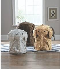 Wicker Elephant Laundry Hamper