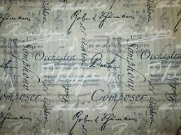 Music Notes Lines Words Orchestra Bach Linen Background Cotton