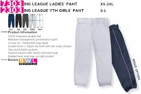 Badger Softball Pants Size Chart Big League Girls Pant By Badger Sport Style Number 2303