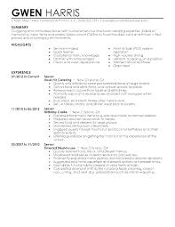 Server Resume Sample Skills Amazing Waiter Resume Objective Ins Co Server Samples Pamphlet Layout Food