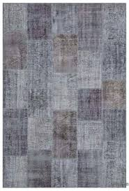 grey over dyed turkish patchwork rug 6 6 x 9