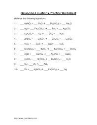 sample balancing chemical equations