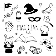 Hand Drawing Styles Magician Items Doodles Magician Stock
