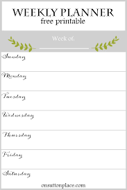 Printable Weekly Schedules Weekly Planner Free Printable On Sutton Place