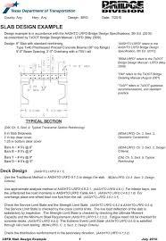 Txdot Bent Cap Design Example Slab Design Example Deck Design Aashto Lrfd 9 7 1 Typical