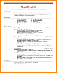 10 Security Guard Resumes Examples Offecial Letter