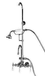 double offset bath supplies 5576 gooseneck spout porcelain lever handles filler and riser