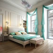Bedroom Beautiful Bedroom Design Using White Bed Frame And Aqua - Master bedroom window treatments
