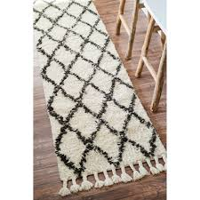 Nuloom Hand-knotted Moroccan Trellis Natural Shag Wool Runner Rug (2'8 x