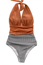 Cupshe Womens Stripe Halter One Piece Swimsuit Keeping You