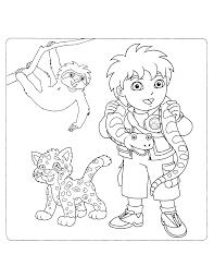 Kleurplaten Paradijs Kleurplaat Diego Met Baby Jaguar Sammy En