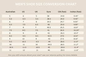 Men S Shoe Size Chart Australia Returns Policy My Happy Shoes