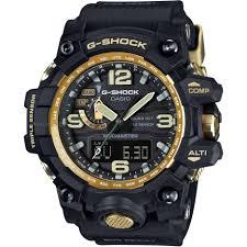 "analogue digital combination watches dual time watch shop comâ""¢ mens casio g shock premium mudmaster compass black x gold alarm chronograph radio controlled watch"
