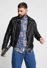 manor biker leather jacket black