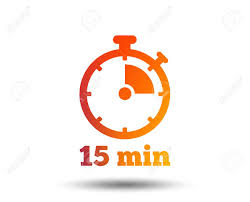 15 Min Timer Timer Sign Icon 15 Minutes Stopwatch Symbol Blurred Gradient