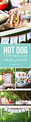 Hot Dog Toppings Bar for the 4th of July (free printables available) .