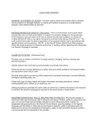 child care provider job description. day care job description resume ...