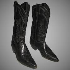used justin women s cowboy boots black lizard leather 8 1 2 b victorian dreams ruby lane
