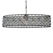 oval crystal chandelier antique brass with drum shade