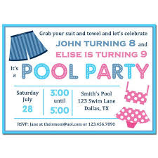Free Pool Party Invitations Printable Sibling Pool Party Invitation Printable Or Printed With Free