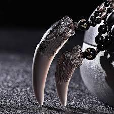 ซ อท ไหน drop chinese carving natural ice obsidian wolf tooth pendant amulets and talismans couple necklace for men and women