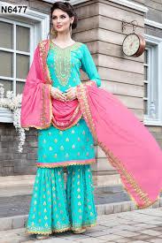 Designer Sharara Suits Ethnic Wear Embroidered Sky Blue Color Designer Georgette Sharara Suit