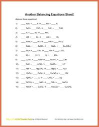 balancing equations worksheet word doent fresh balancing chemical equations practice worksheet with answers of inspirational balancing