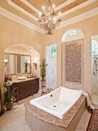 Bathrooms  Beautiful Bathroom With Small Bathtub Also Tiles Wall - Modern bathroom chandeliers