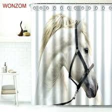 animal horse shower curtains for bathroom decor modern flamingo bath waterproof curtain with seahorse wall dec