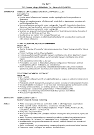 Telecommunications Specialist Resume Samples Velvet Jobs