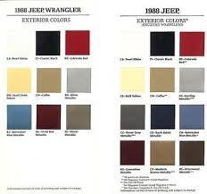 1988 Jeep Jeep Wrangler Factory Paint Chip Brochures