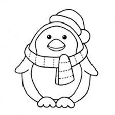 Small Picture Penguin on ice wearing a Santa hat coloring page for kids