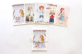 Illustrated Postcard Set Cute Postcards For Greetings Kids Etsy