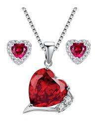 devuggo devuggo sterling silver heart cut simulated ruby pendant earrings jewelry set valentines day gifts for women com