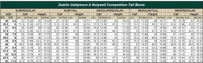 Dublin Holywell Tall Field Boots Size Chart Best Picture