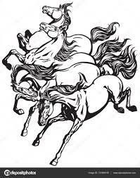 Běžící Divoké Koně Stock Vektor Insima 131690148
