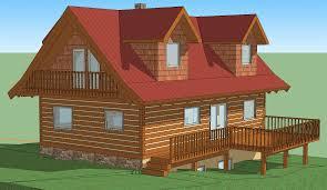 3d ecolog log home model in google sketchup
