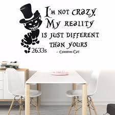 alice in wonderland cheshire cat wall stickers vinyl decal home decor removable
