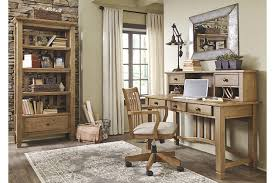 home office set. trishley complete light brown wood home office set with matching open shelf cabinet