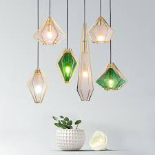 details about modern diamond shaped brass metal frame glass shade pendant lamp ceiling light