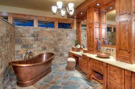 View in gallery Awesome rustic bathroom with copper bathtub [Design: Sun  Forest]